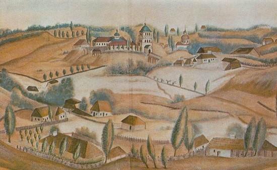 Дерманський Троїцький монастир на малюнку О.Єжова, 1845 р.